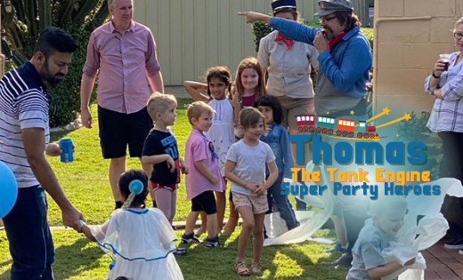 Thomas The Tank Engine Train Parties Character Hire Brisbane Birthday Party Entertainer for Hire